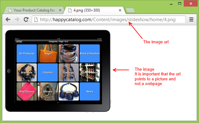 Testing that the picture url is valid for HappyCatalog